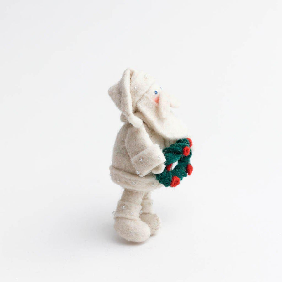 White Cloak Santa Ornament