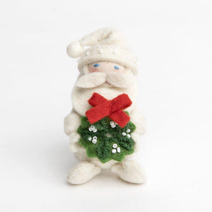Craftspring handmade felt santa ornament wearing all white with bead details and holding a wreath adorned with white beads and red bow