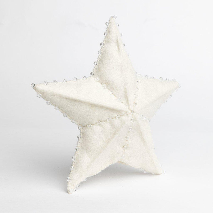 Craftspring handmade felt star tree topper in white with white bead details