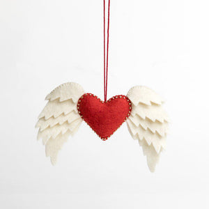 Craftspring handmade felt ornament red heart with bordering beads and layered white wings on both sides
