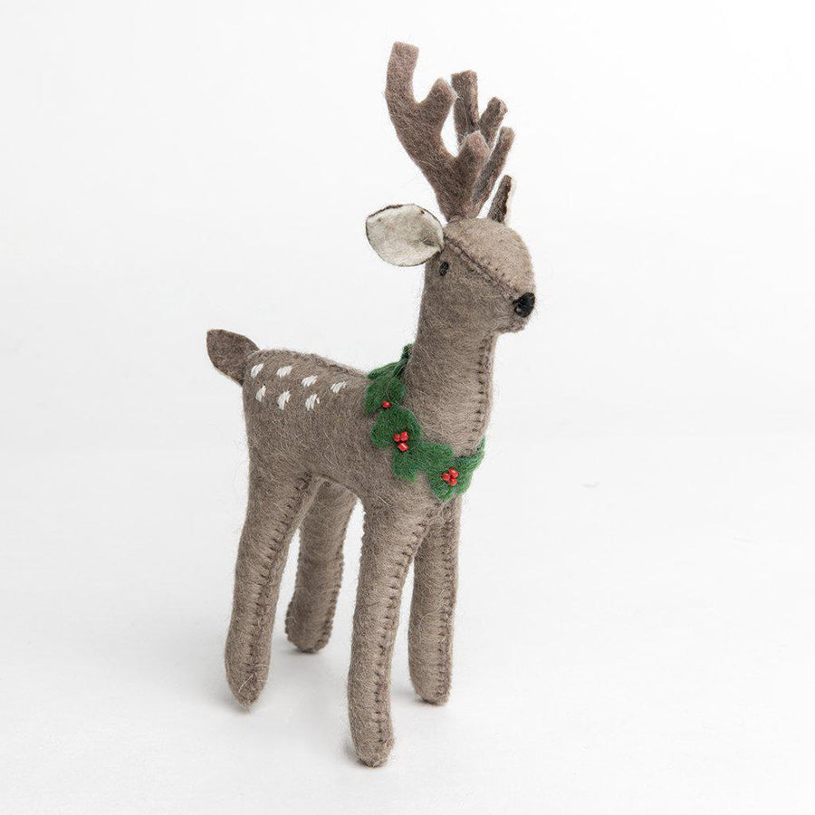 Craftspring handmade felt Deer ornament with light brown body, white embroidered spots on back, and green leaves wreath with berries around neck