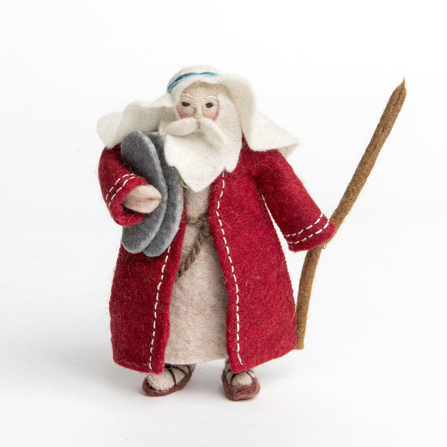 Craftspring handmade felt Moses ornament holding stone tablets, wearing a red cloak, and holding a walking stick