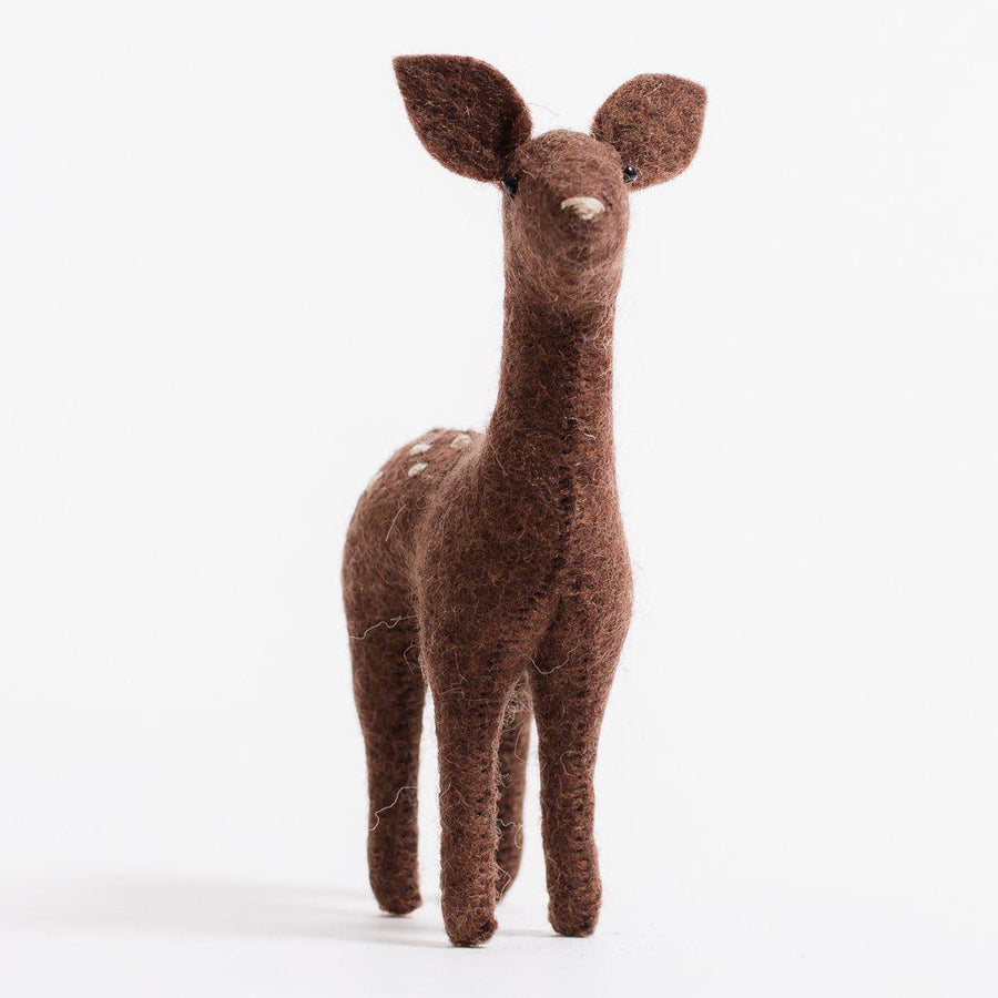 A Craftspring handmade felt dark brown spotted fawn ornament