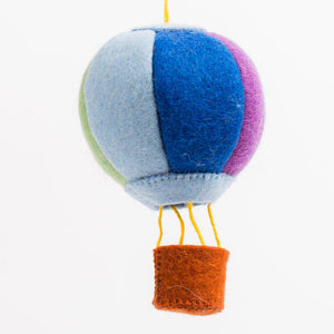 Up and Away Hot Air Balloon Blue Rainbow