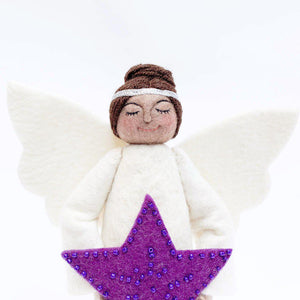 Brown Beauty Purple Star Angel Tree Topper