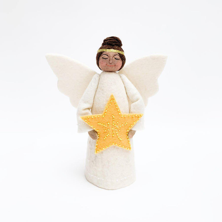 Brown Beauty Yellow Star Angel Tree Topper