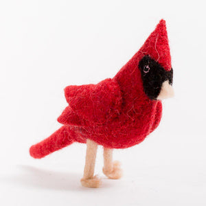 Craftspring handmade felt cardinal ornament red body with black detail on face and bead eyes