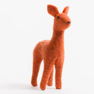 A Craftspring handmade felt fawn ornament with a spotted rust colored coat