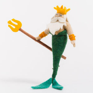 A Craftspring handmade felt king merman ornament with a white beard green tail and yellow trident and crown
