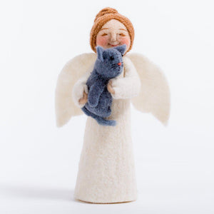 A Craftspring handmade angel ornament with a brown bun holding a grey kitty