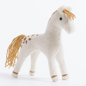 Craftspring handmade felt stallion ornament in white with golden mane and tail and brown embroidered spots on back