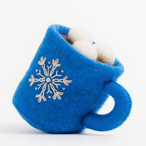 Craftspring handmade ornament blue mug with cream snowflake embroidery, coco inside with 3 marshmallows floating on top