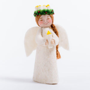 Craftspring handmade angel ornament with long brown braided hair wearing crown of lights and holding a candle