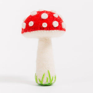 A Craftspring handmade felt spotted red mushroom ornament