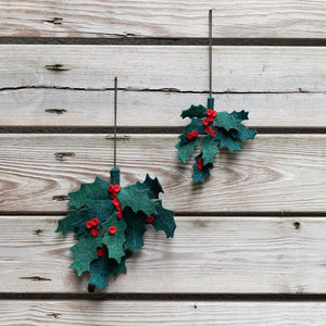 Large Festive Holly Ornament