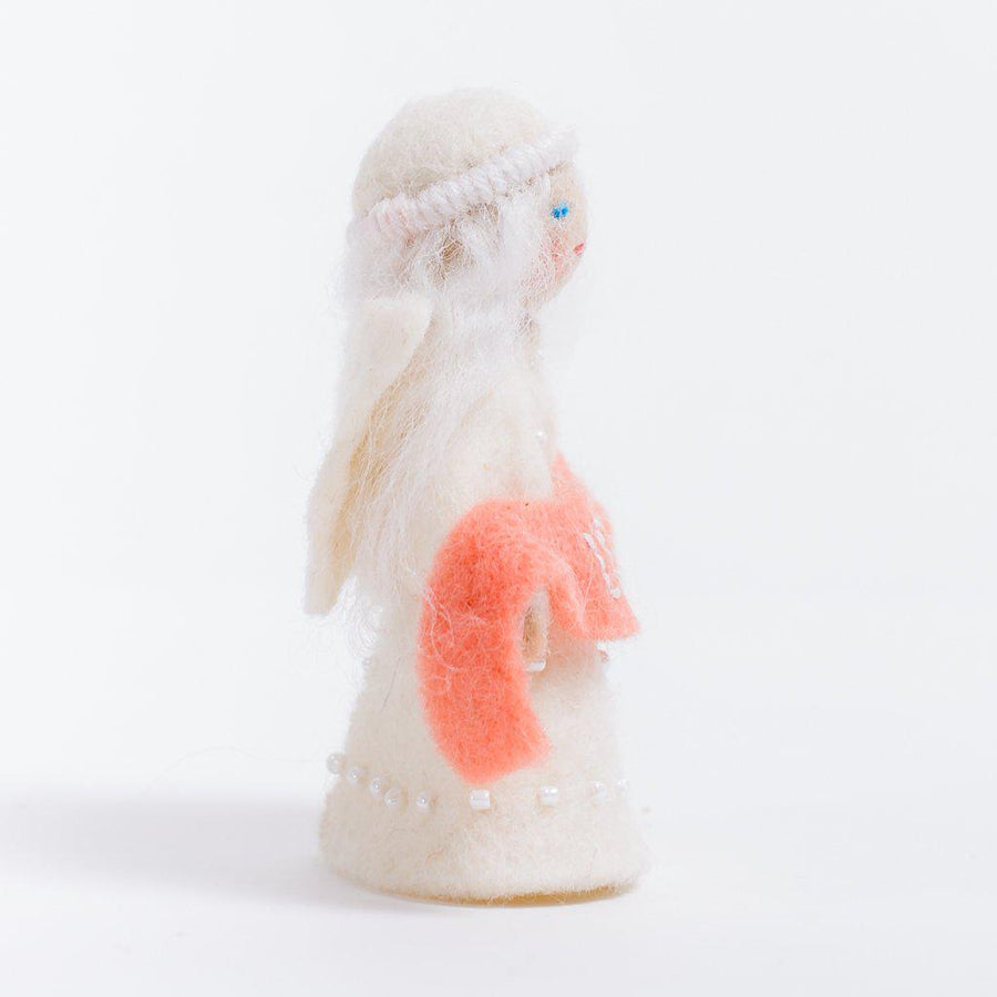 A Craftspring handmade felt angel ornament with a beaded dress white circlet and holding a pink sash embroidered with the word love
