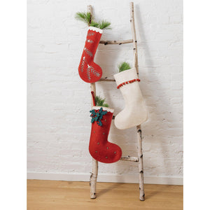 Red Festive Holly Stocking