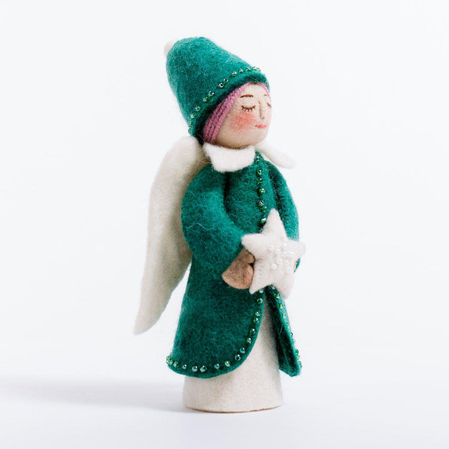 A Craftspring handmade felt star of peace angel ornament wearing a green beaded dress and pointy hat and holding a white beaded star