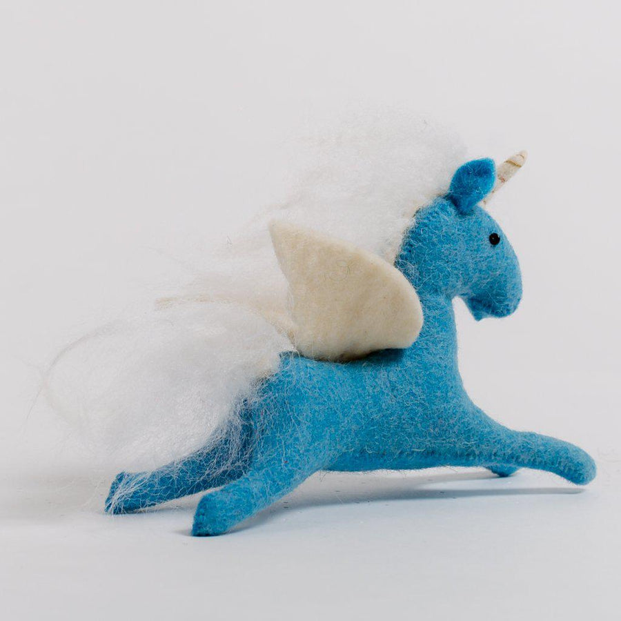 A Craftspring handmade felt blue pegasus ornament with white wings, mane and tail