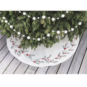 A Craftspring handmade white felt berry tree skirt