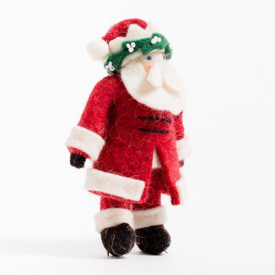 Craftspring handmade felt ornament santa wearing long red coat and crown of mistletoe