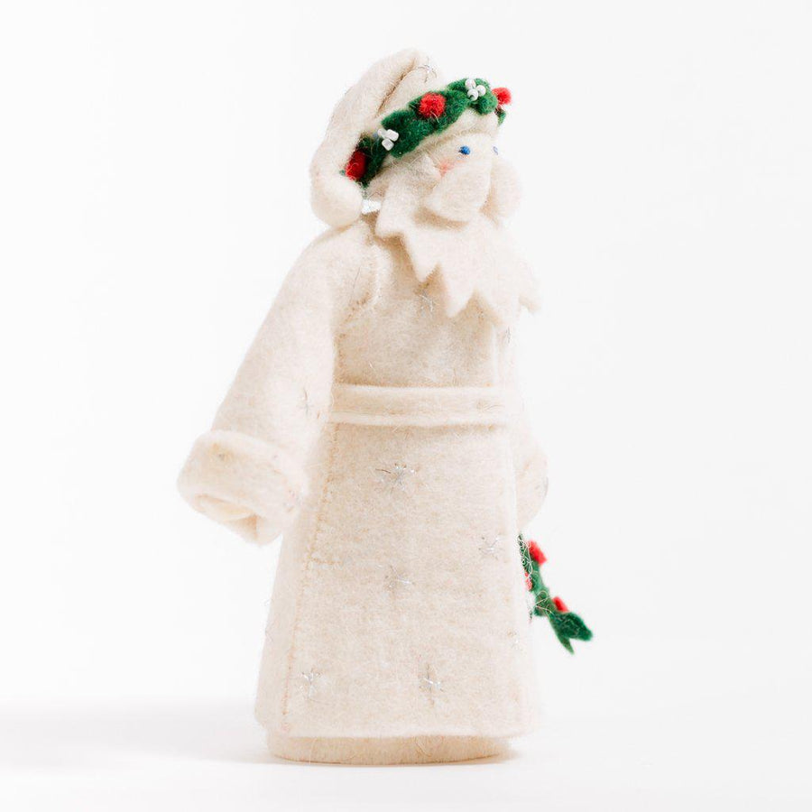 Craftspring handmade father christmas ornament in all white with wreath crown and holding holly