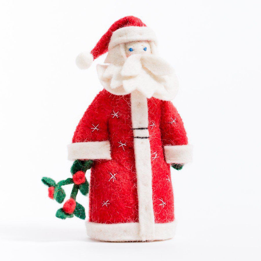 A Craftspring handmade felt father christmas ornament in long red robes holding a sprig of mistletoe