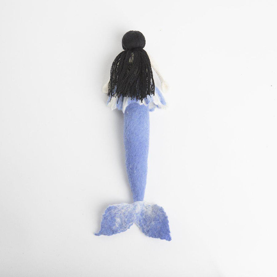 Craftspring handmade mermaid doll with long black hair and dusty blue tail, wearing dusty blue bikini top and skirt