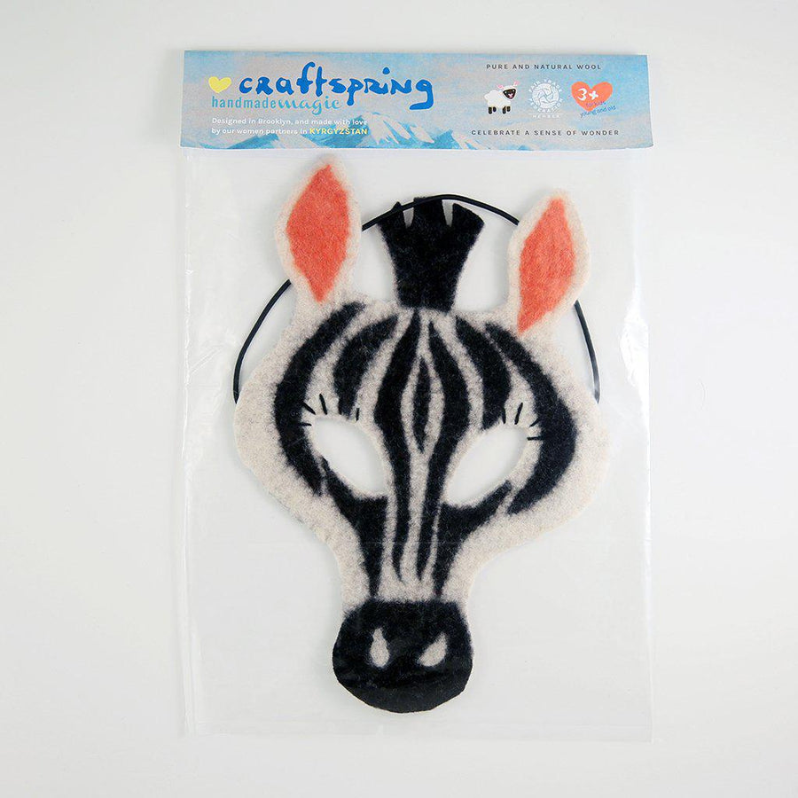 A Craftspring handmade black and white striped felt zebra mask
