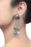 Silver Oxidised Coin Maurya Elephant Earrings