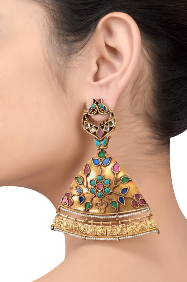 Silver Gold Plated Maurya feather earrings
