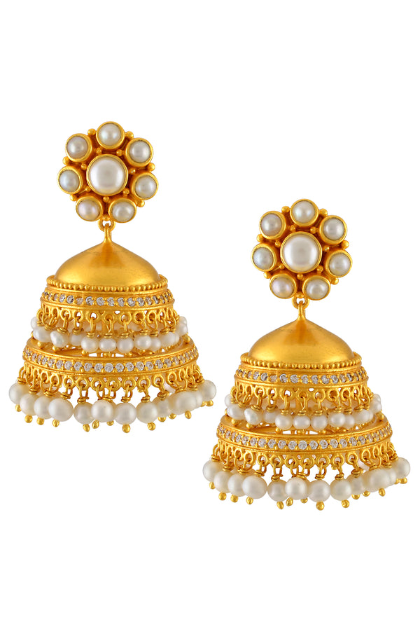 Silver Gold Plated Floral Pearl Jhumka