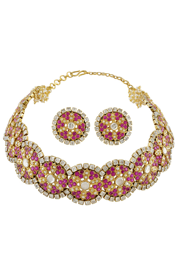 Silver Gold Plated Round Floral Round Pink Pearl Choker Set