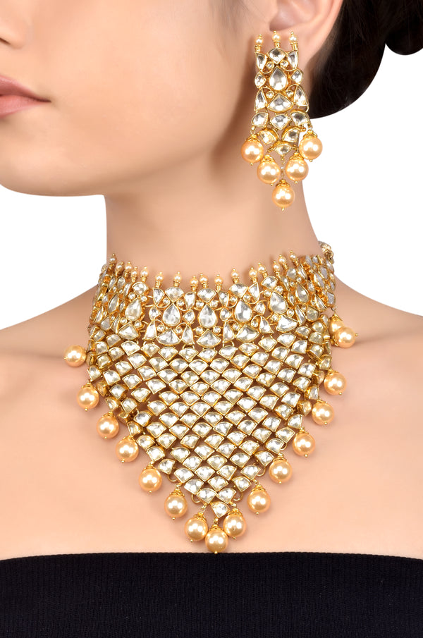 Silver Gold Plated Interlinked Multi Crystal Pearl Necklace Set