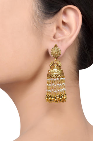 Silver Gold Plated Floral Carved Multi Pearl Strand Jhumki Earrings