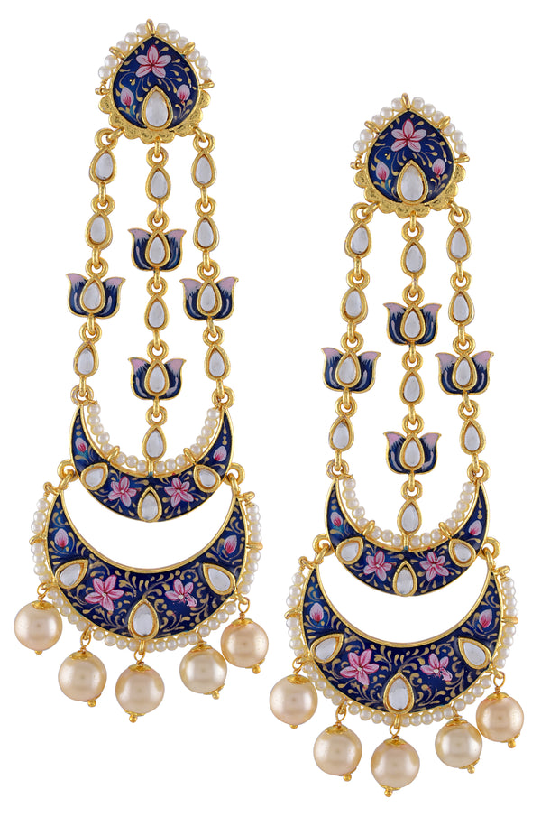 Gold Plated Blue Pink Enamelled Lotus Pearl Moon Earrings
