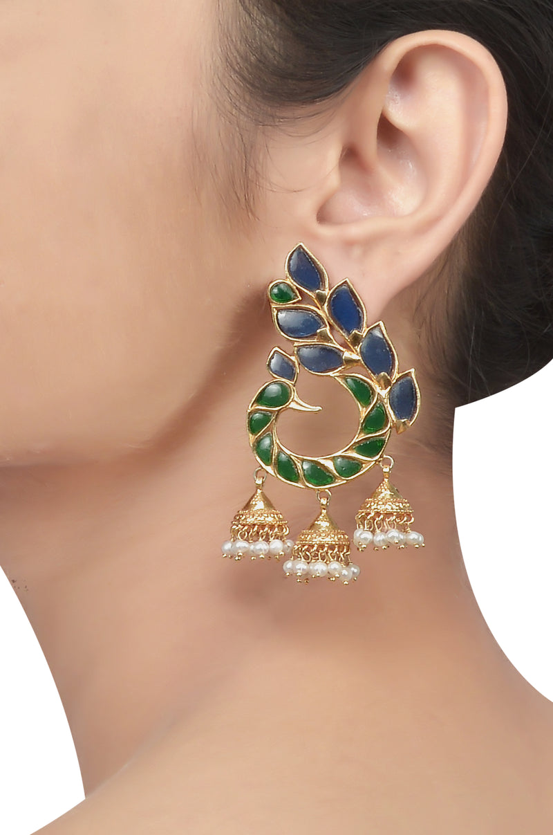 Silver Gold Plated Peacock Glass Pearl Earrings