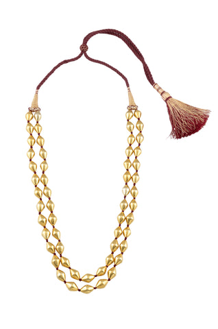 Two layer silver gold plated dholki necklace
