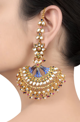 Silver Gold Plated Enamelled Fan Multi Crystal Floral Earrings