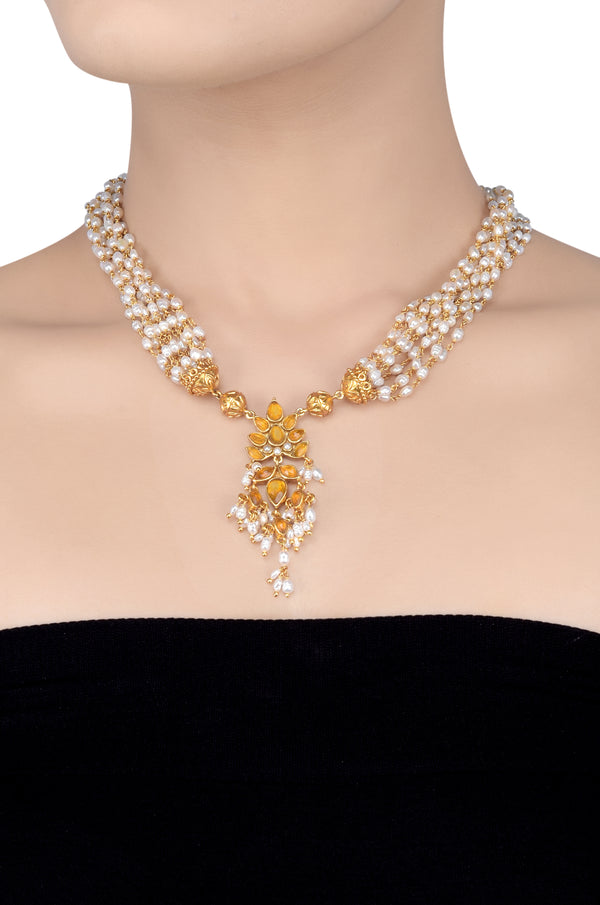 SILVER GOLD PLATED CITRINE FLORAL PEARL MULTISTRAND NECKLACE