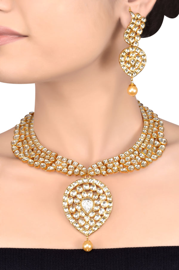 Silver Gold Plated Crystal Studded Pearl Drop Necklace Set