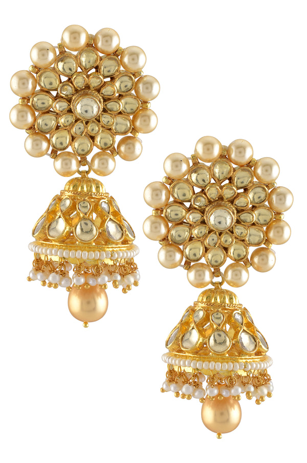 Silver Gold Plated Crystal Pearl Flower Jhumka