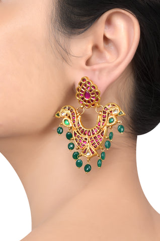 Silver Gold Plated Multi Crystal Glass Drop Mayura Earrings
