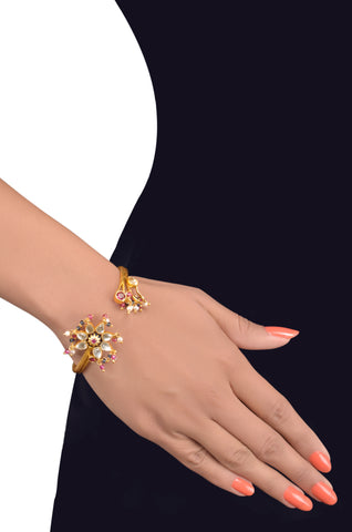 Silver Gold Plated Floral Multi Glass Crystal Bangle