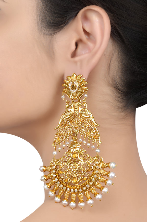 Silver Gold Plated Mayura Lotus Pearl Citrine Chaand Earrings