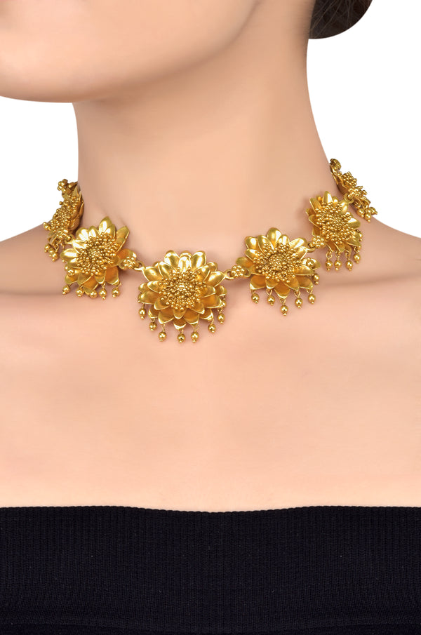 Silver Gold plated Multi Flower Rawa Cluster Choker