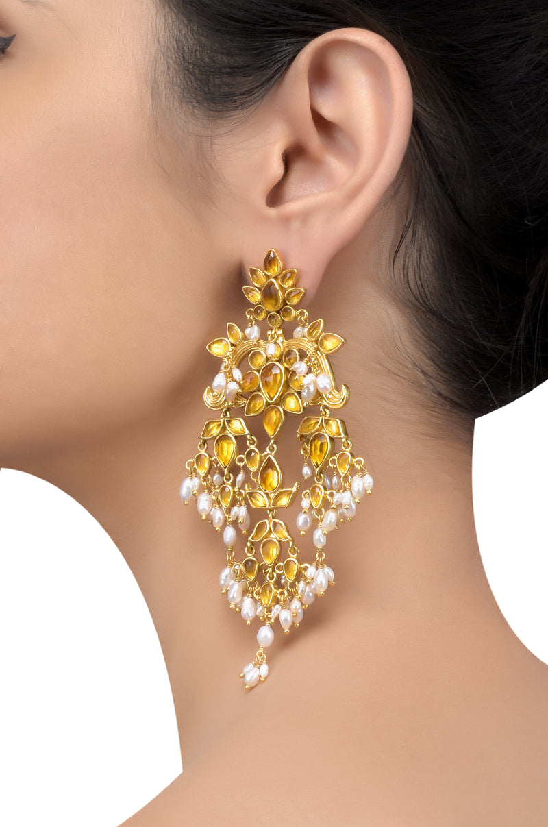 Silver Gold Plated Floral Citrine Pearl Drop Earrings