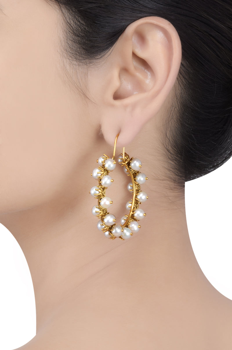 Silver Gold Plated Pearl Flower Hoop Earrings