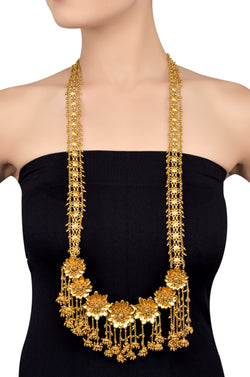Silver Gold Plated Multi Flower Rawa Cluster Drop Long Necklace