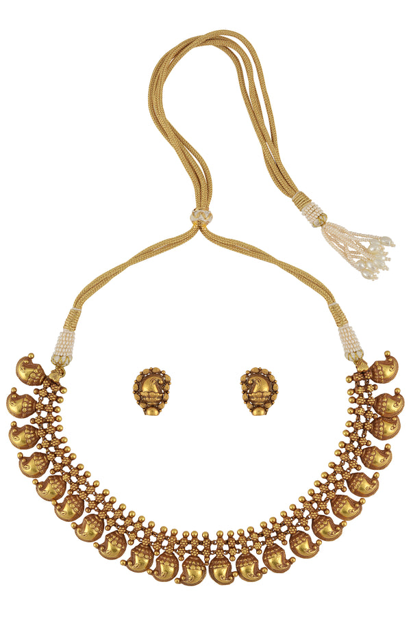 SILVER GOLD PLATED MANGO THREAD NECKLACE WITH EARRINGS